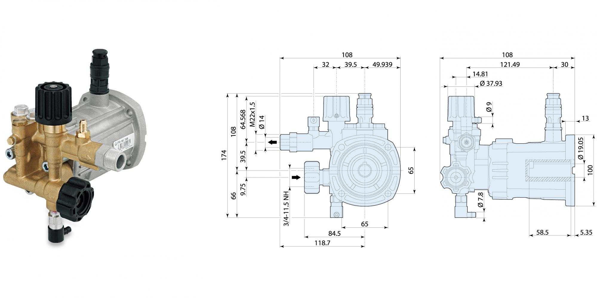 "RXV 3400 转 D 轴 3/4"" 标配水平轴汽油机法兰"