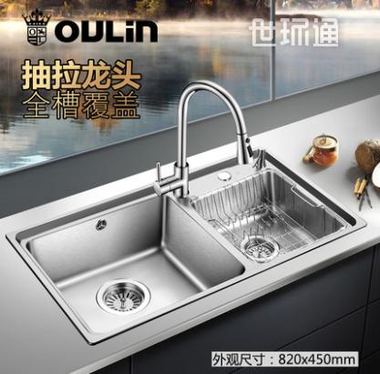 欧琳水槽双槽套餐厨房304不锈钢加厚洗菜盆